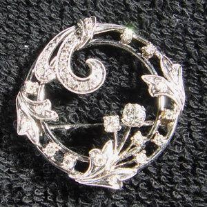 Vintage Platinum & Diamond Circle Pin